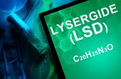 Tablet with the chemical formula of Lysergide (LSD).