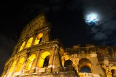 Roman Coliseum Under A Full Moon