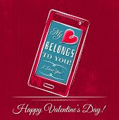 Valentine Card With Smartphone On Red Wooden Background