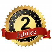 Jubilee Button With Banners - 2 Years
