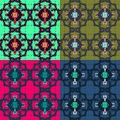 Set of retro abstract seamless pattern