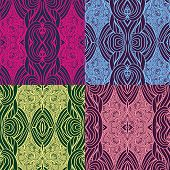 Set of four seamless waves patterns.