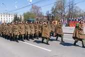 Постер, плакат: Group of military force soldiers on parade