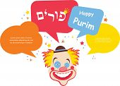 stock photo of clown face  - Card for Jewish holiday Purim - JPG