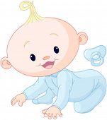 foto of creeping  - Illustration of creeping baby boy  - JPG