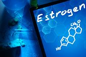 picture of formulas  - Tablet with the chemical formula of estrogen - JPG
