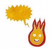 stock photo of fireball  - cartoon friendly fireball with speech bubble - JPG