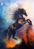 Painting Of A Black Unicorn Dancing In Space