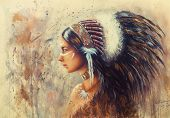 Young Indian Woman Wearing A Big Feather Headdress, A Profile Portr