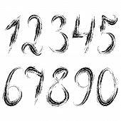 Dirty grunge set of numerals.