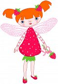 Illustration of cute strawberry fairy