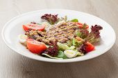 Fresh Beef Salad With Lettuce, Tomatoes, Boiled Eggs, Mustard Sauce