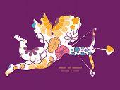 Vector colorful oriental flowers shooting cupid silhouette frame pattern invitation greeting card te