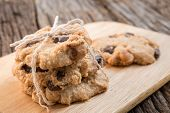 picture of chocolate-chip  - Studio Shot of freshly baked chocolate chip cookies - JPG