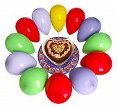 birthday decorative cake and balloons celebration background on isolate whit