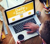 Digital Online Daily News Update Office Working Concept