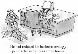 pic of panic  - Cartoon of businessman sitting on floor in his office pulling his hair out - JPG