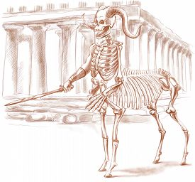 image of centaur  - Illustration of a series of legendary animals and monsters  - JPG