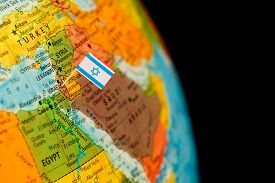 stock photo of flags world  - map with miniature flag of Israel  - JPG