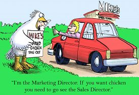 picture of going out business sale  - Cartoon of fast food restaurant and businessman dressed up like chicken - JPG