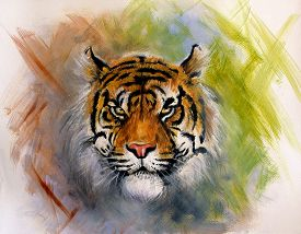 picture of airbrush  - beautiful airbrush painting of a mighty fierce tiger head on a soft toned abstract background - JPG