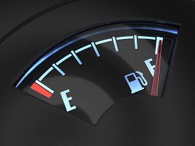 stock photo of fuel economy  - 3d render of gas gage with the needle indicating a full tank - JPG