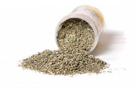 pic of catnip  - Dried green catnip for cats spilling from container on a white background  - JPG