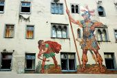 David And Goliath On The House Wall ,regensburg,unesco Heritage