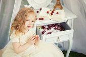 foto of faerie  - Outdoor portrait of cute little girl in princess dress - JPG