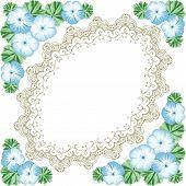 foto of geranium  - Vintage flower frame with geraniums and lace frame - JPG