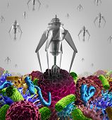 picture of human cell  - Nanotechnology medical therapy medicine concept as a group of microscopic nano robots or nanobots programed to kill disease as cancer virus and deadly bacteria cells or human disease as a futuristic health care cure symbol - JPG