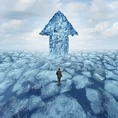 image of iceberg  - Success journey concept as a businessman walking on broken frozen ice with an iceberg shaped as an arrow as a metaphor for danger risk and opportunity - JPG