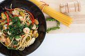 picture of thai cuisine  - spicy spaghetti thai cuisine on white background - JPG