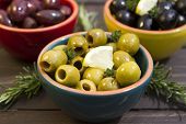 stock photo of kalamata olives  - A selection of three different types of olives - JPG