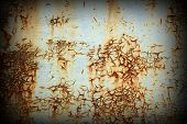 image of scratch  - scratched rusty metal surface with vignette - JPG