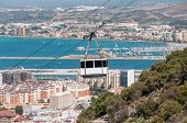 foto of gibraltar  - View of the city of Gibraltar and cable car close to the top of Gibraltar rock - JPG