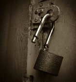 stock photo of lock  - the padlock padlock the open lock the lock without key - JPG