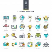 stock photo of internet-banking  - Modern line color icons for business and banking - JPG