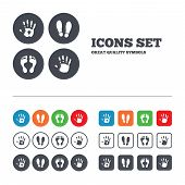 stock photo of barefoot  - Hand and foot print icons - JPG