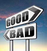 stock photo of morals  - good bad a moral dilemma about values right or wrong evil or honest ethics   - JPG