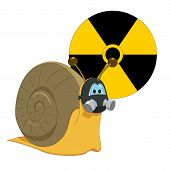 picture of radioactive  - snail with gas mask and radioactive symbol - JPG