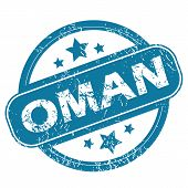 image of oman  - Round rubber stamp with word OMAN and stars - JPG