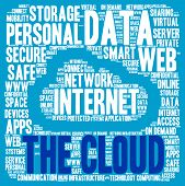 image of clouds  - The cloud word cloud on a blue background - JPG