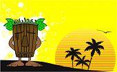 pic of tiki  - tiki hawaiian mask cartoon summer background in vector format very easy to edit - JPG