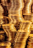 foto of golden coin  - Golden coins stacks business wealth and success concept - JPG