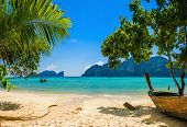 pic of phi phi  - Exotic beach with palms and boats on azure water - JPG