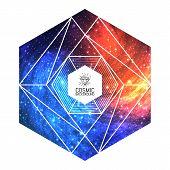 image of triangular pyramids  - Hipster triangular colorful cosmic background - JPG