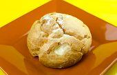 picture of cream puff  - Chu cream puff on plate  - JPG