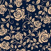 stock photo of blue rose  - Medieval seamless pattern with beige roses on blue background for fabric or interior design - JPG
