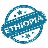 picture of ethiopia  - Round rubber stamp with word ETHIOPIA and stars - JPG